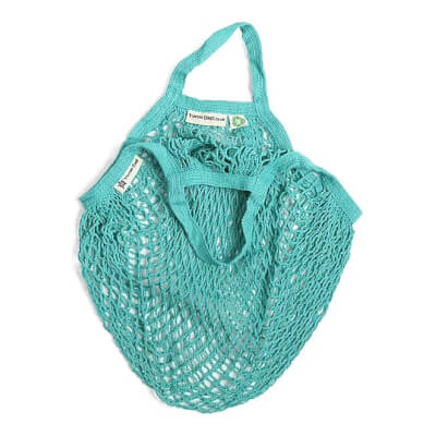 Turtle Bag - Short Handled Organic Shopping Bag - Aqua