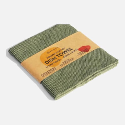 Zerowaste Organic Cotton Dish Towel - 40X40 Cm Olive Green