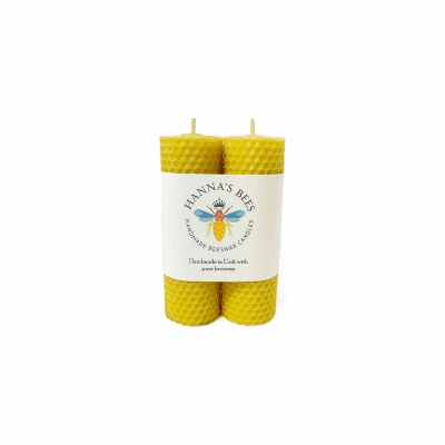 Hanna'S Bees - Pair Of Small Pillar Candles Handrolled 45Mm X 125Mm