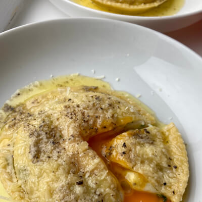 Uovo In Raviolo With Ricotta And Spinach, Truffle Butter