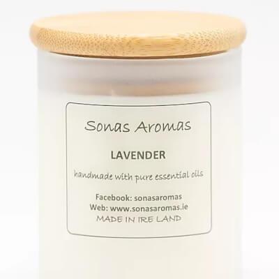 Lavender Candle Wood Lid