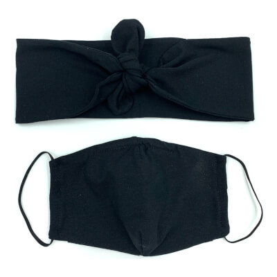 Black Hairband And Face Mask Set Child Size