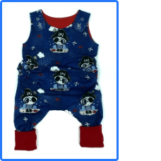 Children's On The Grow Navy Pirate Panda Romper