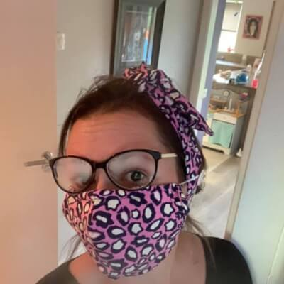 Pink Leopard Print Hairband And Face Mask Set Adult