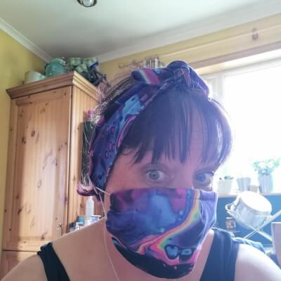 Purple Hairband And Face Mask Set Adult Size