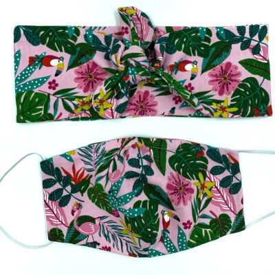 Tropical Flamingo Hairband And Face Mask Set Child Size
