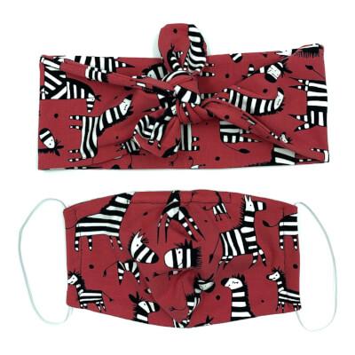 Zebra Hairband And Face Mask Set Adult Size