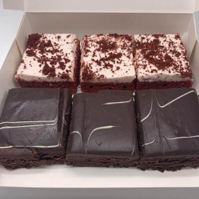3 Red Velvet & 3 Brownie Slices