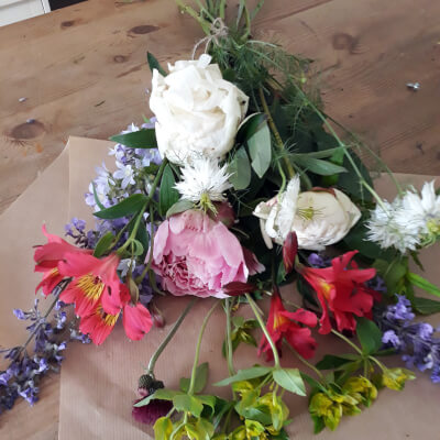 Hand Tied Wrapped Posy Of Seasonal Flowers