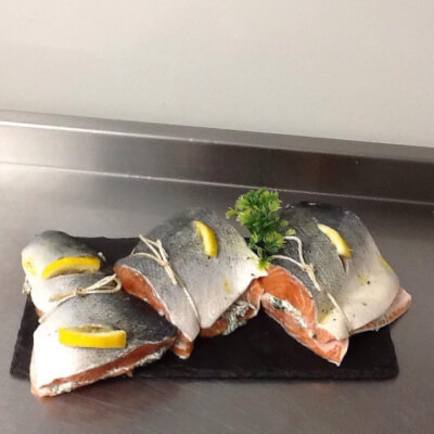 Salmon Joint Stuffed With Creamed Spinach