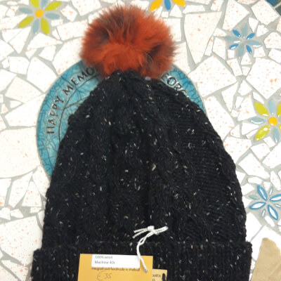 Dark Hat With Orange Bobble