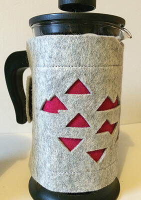 Coffee Cosy - Light Grey With Pop Of Colour Red