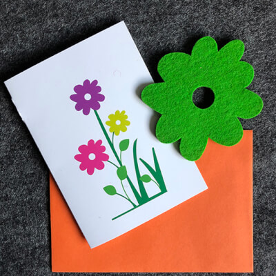 Blooming Lovely Card With Green Coaster -