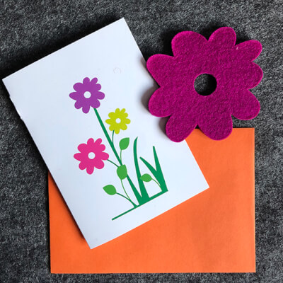 Blooming Lovely Card With Purple Coaster -  Greetings