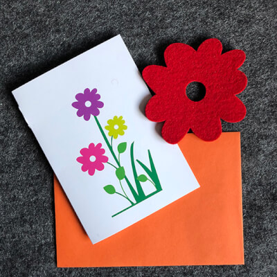 Blooming Lovely Card With Red Coaster