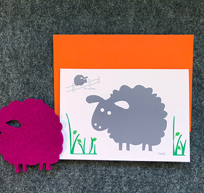 A Warm Woolie Hello Card With 1 Coasters - Purple