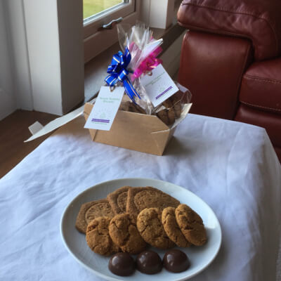 Rich Chocolate Melts Snacks Box With Sweet Teatime Biscuits & Ginger Oatmeal Biscuits
