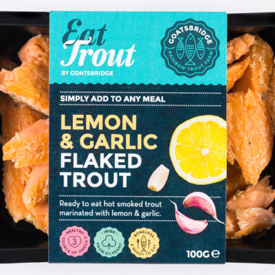 Flaked Lemon And Garlic Marinated Smoked Trout
