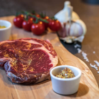 Ribeye Steak From Our Organic Farm  1 X 330G Approximate Weight - Frozen