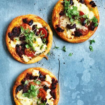 Tomato, Basil, Olive And Chorizo Tartlets