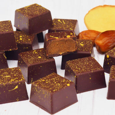 Raw Chocolates With Ginger & Date Filling