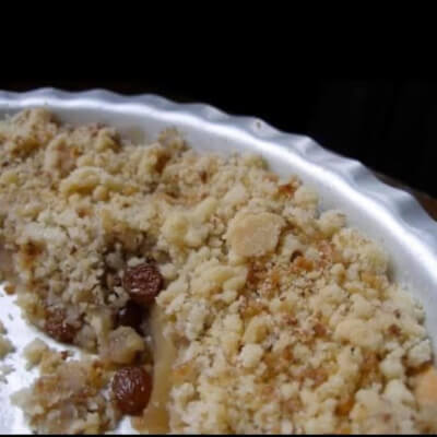 Apple & Walnut Crumble With Brandy Soaked Raisins