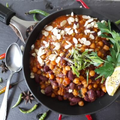 Ramja, Chole And Green Mung Bean Korma