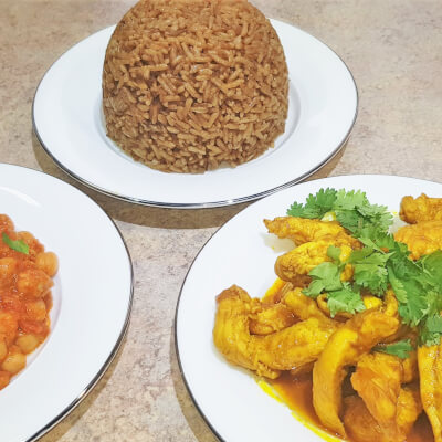 Chicken Binzari (Curry) & Chickpea Curry With Coconut
