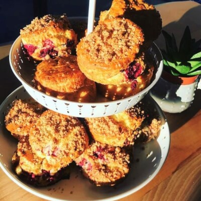 5 Raspberry Crumble Scone With Raspberry  Chia Jam