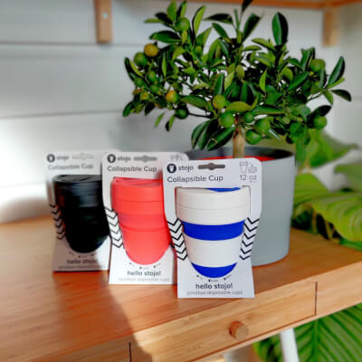 Stojo Collapsible Keep Cup - Blue And White