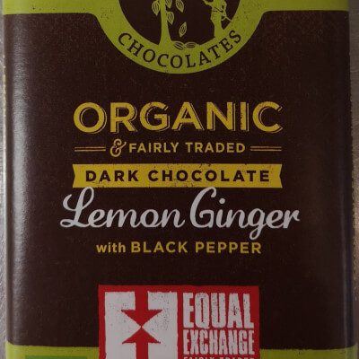 Organic Lemon, Ginger And Black Pepper Dark Chocolate
