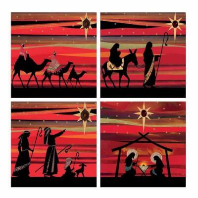 Christmas Silhouettes Cards - Pack Of 20 , 4 Designs