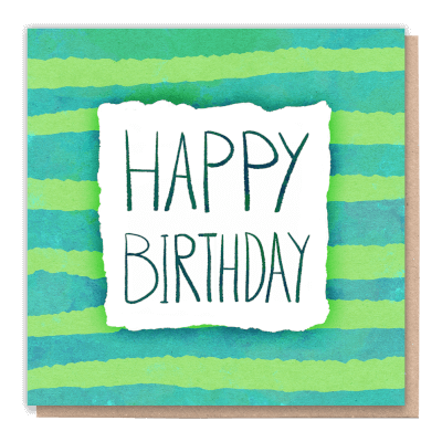 "Tree Card ""Birthday Stripes"" Card Contains Flower Seed Token"