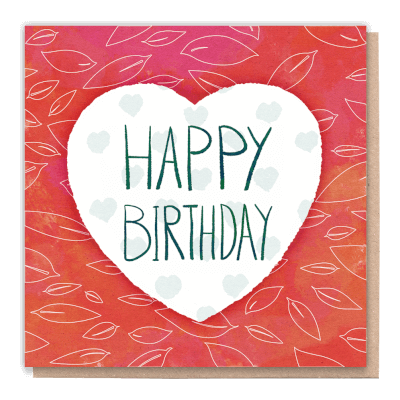 "Tree Card ""Birthday Heart"". Card Contains Flower Seed Token"