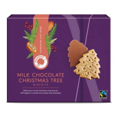 Traidcraft Milk Chocolate Christmas Tree Biscuits