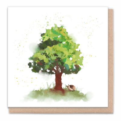 "Tree Card ""Tree With Hedgehog"" Card Contains Flower Seed Token"