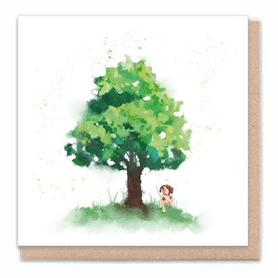 "Tree Card "" Tree With Dog"" Card Contains Flower Seed Token"