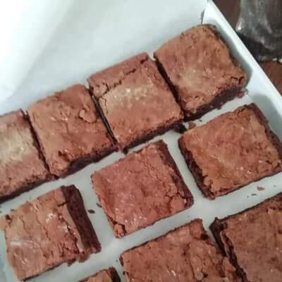 10 Delicious Homemade Brownies In A Presentation Box.