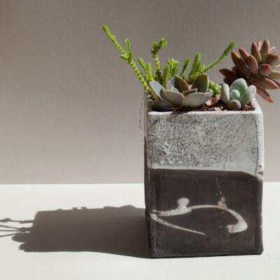 Tall Monochrome Raku Planter With Succulent Gardens