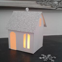 Tea Light Lantern Cottage Silver