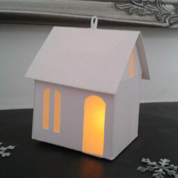 Tea Light Lantern Cottage Snow Sparkle