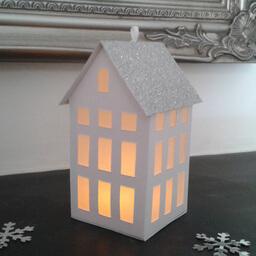 Tea Light Lantern Town House Silver