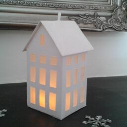 Tea Light Lantern Town House Snow Sparkle