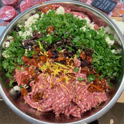 Ballea Farm Lamb Burger With Feta, Sun Dried Tomato, Black Olives And Fresh Herbs