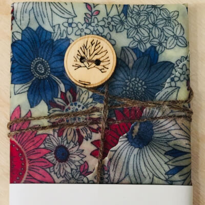 Hannah'S Beeswax Sandwich Wraps (Navy And Pink Flower)