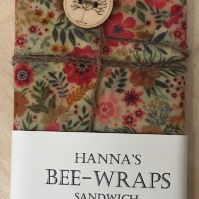 Hannah'S Beeswax Sandwich Wraps (Multicolored Small Flower Print)