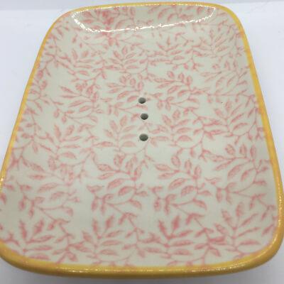 Ceramic Soap Dish Pink Leaves