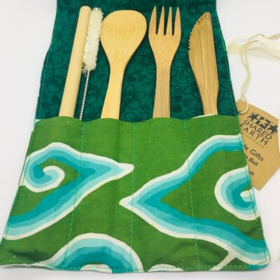 Bamboo Cutlery Set In Green Pouch