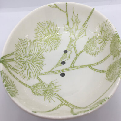 Ceramic Soap Dish Green Thistle