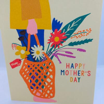 Mother'S Day Basket/Flower Card